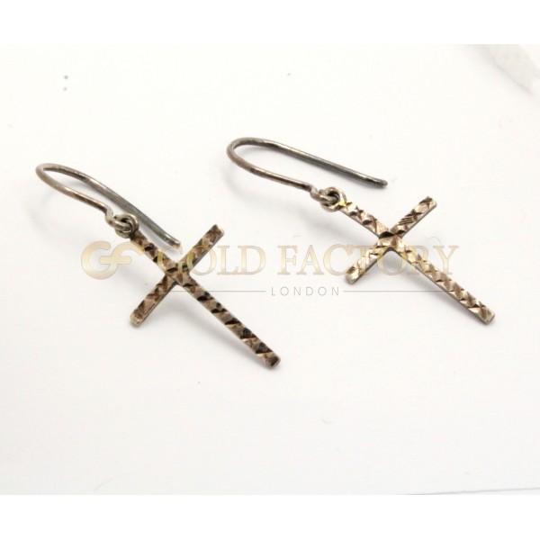 Lovely 9ct White Metal Diamond Cut Cross Dangle Earrings