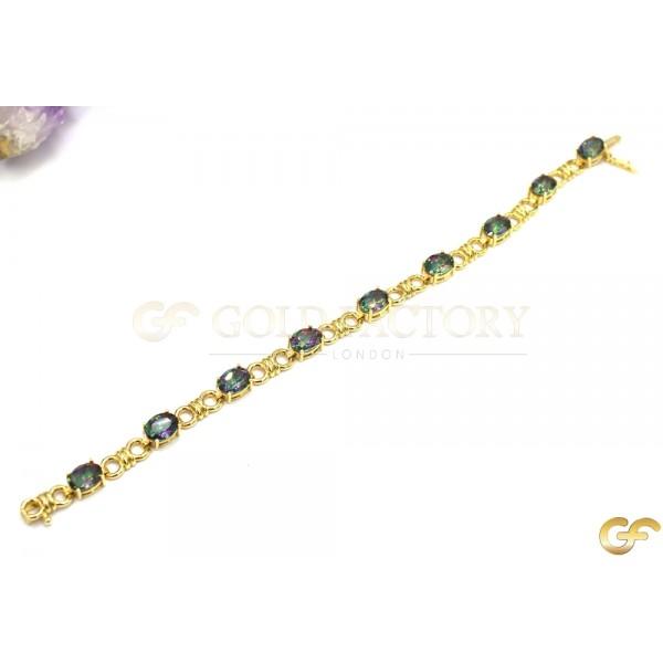 14ct Gold Bracelet with Stunning Green/Purple CZ Stones