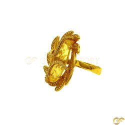 14ct Fancy Yellow Gold Ring with White CZ's