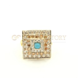 Beautiful Tiered 22ct Gold Ring with Centre Turquoise Stone